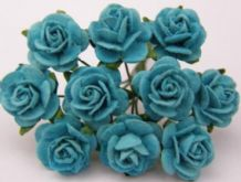 1 cm TURQUOISE BLUE Mulberry Paper Roses